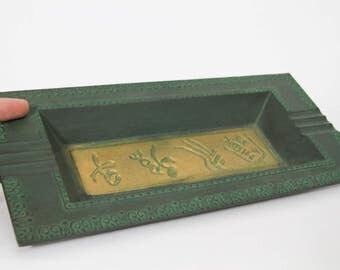 Vintage Japanese Cast Iron Metal Dish Tray, Nambu Tekki Calligraphy, Signed Ashtray Green