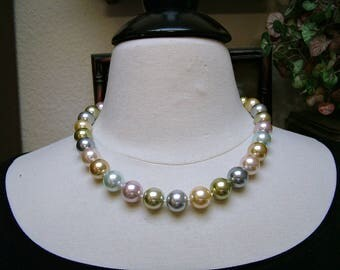 Vintage Kenneth J Lane KJL Pastel Glass Hand Knotted Pearl Necklace