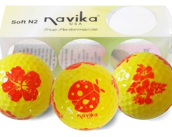 Yellow Golf Balls with Red Ladybug and Flowers Imprint