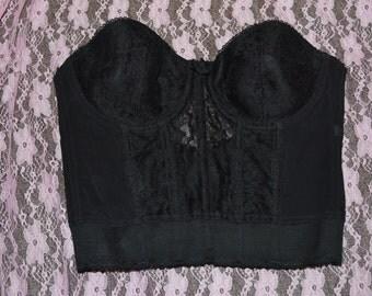 "Vintage black corset top 26"" bust"