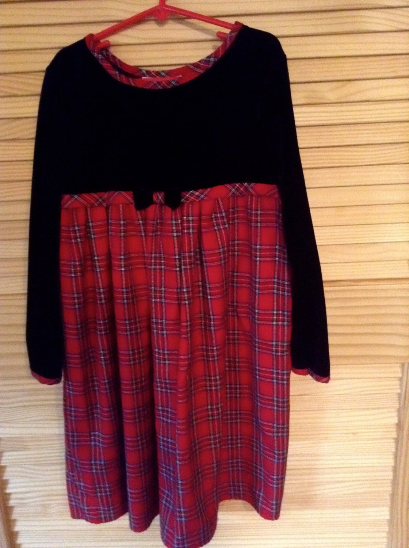 girls tartan plaid christmas dress youngland label size 6 black velvet trim