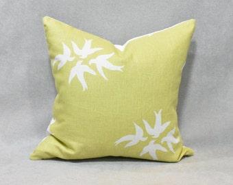 Citron with White Birds Pillow