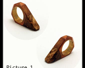 Faceted wood and copper ring with blass sleeve by Ramosa Jewelry