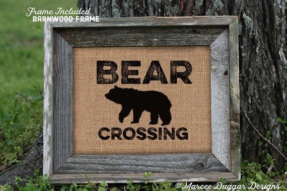 Framed Bear Crossing | Man Cave | Lodge | Nature | Bear | Woods | 241