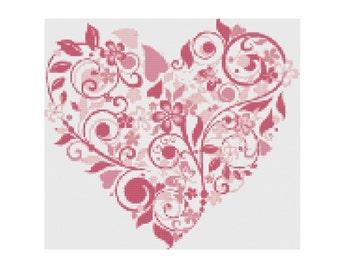 Flower Heart Cross Stitch Pattern PDF ** Instant Download **