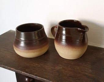 Rustic Brown Milk Jug and Sugar Bowl ~ Vintage Mori Girl Craft Pottery ~ by The Ivory Dolls