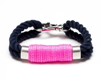Nautical Rope Bracelet / Neon Pink Rope Bracelet / Navy Blue Rope Bracelet / Silver Nautical Bracelet / Nautical Jewelry / Nautical Gift
