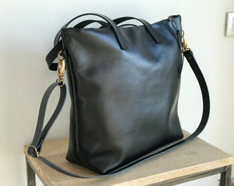 Large Black Leather bag with zip and removable Cross Body Strap. Handles stitched. Handmade. Zipper. Minimalist leather bag.