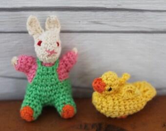 Vintage Miniature Crochet Bunny Rabbit and Duck, Vintage Easter Decoration