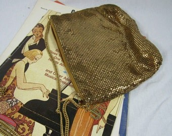 Vintage Whiting and Davis Gold Mesh Bag Evening Bag Iconic Style Cross Body Dance Bag