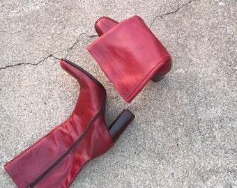 Vintage J Crew Burgundy Leather Boots