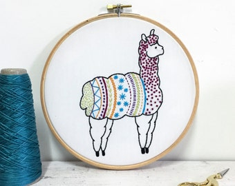 Alpaca Contemporary Embroidery Kit - Embroidery Hoop Art - Learn How to Embroider - Hand Embroidery Kit - Craft Kit - Embroidery Pattern