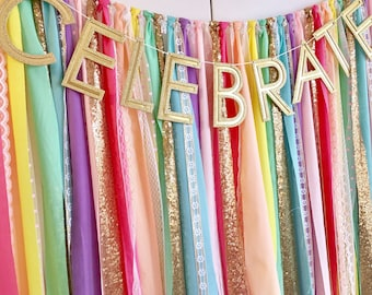 Unicorn Rainbow & Gold Sequin Garland Backdrop - birthday, baby shower, wedding ... Fabric, Sequin and Lace