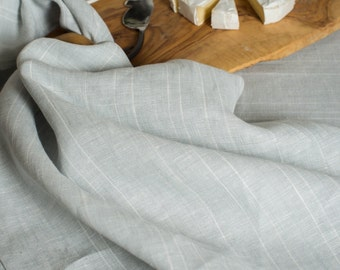 Linen Tea Towel Light Grey with White Stripes