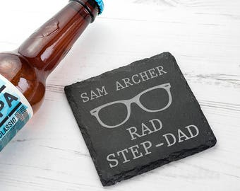 Rad Step-Dad Square Slate Keepsake - Coaster - Stepdad Gift - For My Stepdad - Thank You Gift - Father's Day - Bonus Dad  FREE UK DELIVERY
