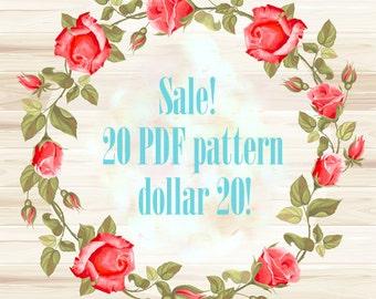 cross Stitch Pattern, cross stitch,  SALE! 20 PDF Patterns 20 dollar - Pick any Patterns