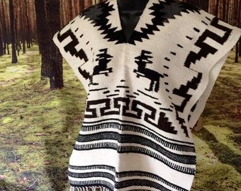 SALE 20% off 2+ items / Black and White Deer Poncho Fringed Southwest