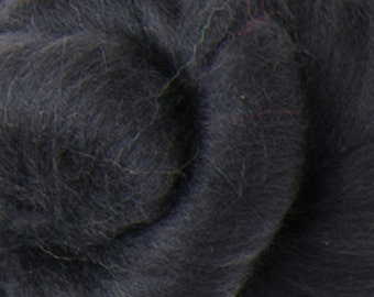 Superfine 14.5 micron Merino Wool Roving/combed top - DHG's Black    - 4 ounces