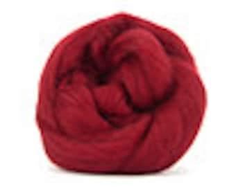 Corriedale Wool Roving /Combed Top/Braid in Ruby  - 2 oz