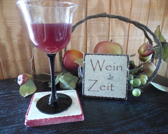 """Travertine tile with a tumbled surface """"Wein Zeit"""" coaster"""