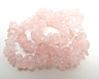 Rose Quartz Chips, 15 Inch Strand, Small Chip 4-7mm, Gemstone Beads, Pink Gemstone, Pink Stone Chips, Jewelry Supplies, UK Seller