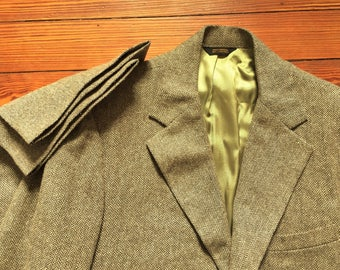 Vintage 70s 1974 Dated Rothrock Brown Herringbone Tweed Suit 36, 31x29