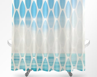 surf shower curtain beach shower curtain ocean shower curtain beach bathroom coastal