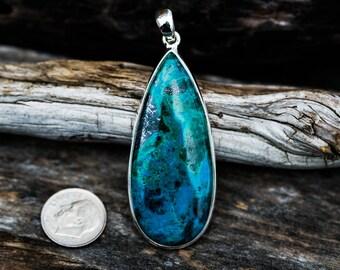 Chrysocolla Turquoise Pendant - Chrysocolla with Turquoise - Chrysocolla and Turquoise Sterling Silver Pendant - Chrysocolla Turquoise