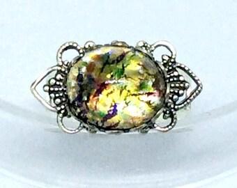 Dragons Breath Opal Ring, Amber Opal Ring, Filigree Ring, Adjustable Filigree Ring, Dragons Breath Ring, Opal Jewelry, Fashion Rings
