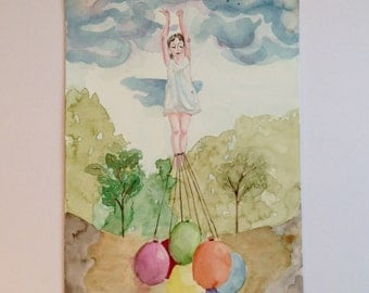 Dream with balloons (surreal girl picture) original signed watercolour painting/illustration A4 size