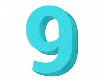Blue Number Nine Machine Embroidery Design