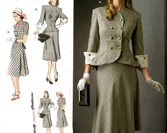 Simplicity D0580 8242 Vintage Style 1940s Two Piece Dress Sizes 10 to 18