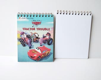 Disney Pixar cars mater and lightning mcqueen Tractor Little Golden Book Upcycled Sketchbook Notebook, Drawing Pad