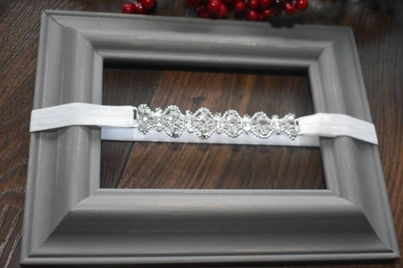 Christening white and silver rhinestone headband - Baby / Toddler / Girls / Kids Headband / Hairband / Hair bow