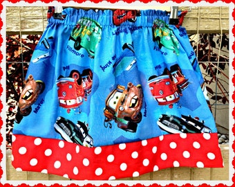 girls CARS skirt Lightening McQueen 2T 3T 4T 5T 4/5 6/6X 7/8 10/12 14/16 ready to ship