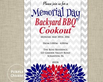 Memorial Day Invitation 4th of July BBQ Cook Out Invitation Patriotic Invite Red White and Blue Printable Backyard Barbecue Invite 331