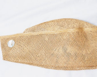 Vtg Sailor Hat / Nautical Style / Woven Straw / Mother of Pearl Button