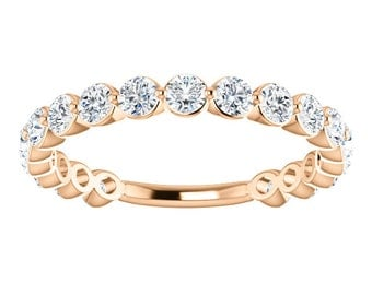 "25% OFF Moissanite Eternity 14K Gold Band, ""Forever Brilliant"" Anniversary Ring, Wedding"