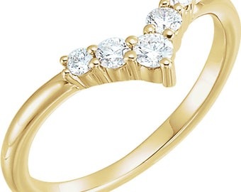 Diamond Ring, V Shaped, .25CT Slim Anniversary Band, Sterling Silver, White, Yellow, or Rose Gold