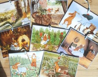 "Tags Beatrix Potter - set of 8 - 12x9 cm / 4.7""x3.5"" - 200 grams paper - Gift Tag, Peter Rabbit, Benjamin Bunny"