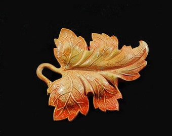 Celluloid Autumn Leaf Brooch 1930's