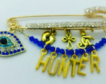 Gold stroller pin, name pin,  bedazzled baby pin, evil eye safety pin, baptism pin, christening pin, baby shower gift, baby pin