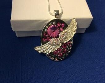 Angel Wings Pendant, Swarovski Crystal Pendant, Black Pendant, Pink Pendant