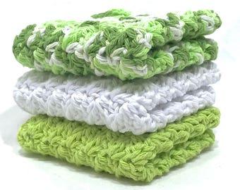 Cotton Crochet Washcloth Set - Spring