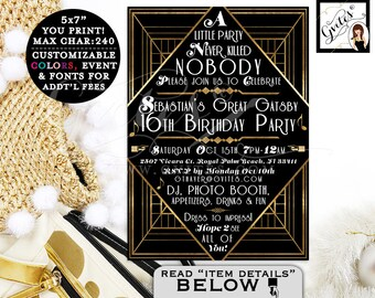 Great Gatsby invitations, Gatsby 1920s theme invitation, 16th birthday printable teen boy party invites, the great gatsby, {You Print}