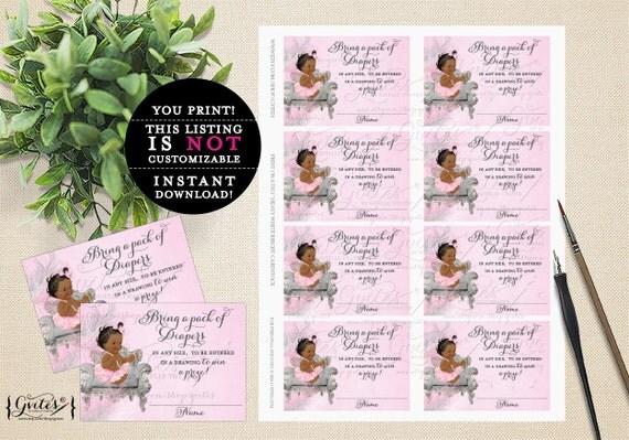 Diaper Raffle Tickets, African American baby girl, diaper ticket pink diaper ruffles bows INSTANT Download {DARK/JET} 3.5x2.5, 8/Sheet.