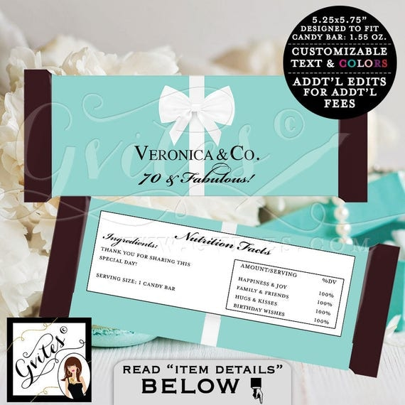 Candy Bar Wrapper - Breakfast at birthday and co. 70 and fabulous, party PRINTABLE chocolate wrapper, customizable, birthday party labels.