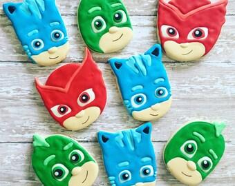 12 PJ Mask sugar cookies