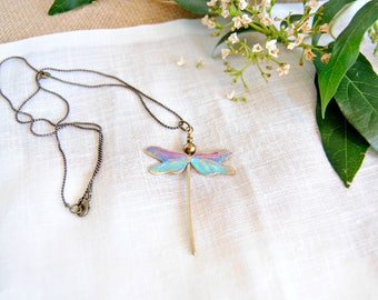 Engraved brass pendant - dragonfly