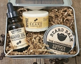The Connoisseur Beard Kit - Coffee & Cocoa Scented Beard Oil, Beard Shampoo, Beard Balm, Men's Beard Grooming Kit, Romantic Men's Gift
